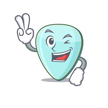 Smiley mascot of guitar plectrum cartoon Character with two fingers