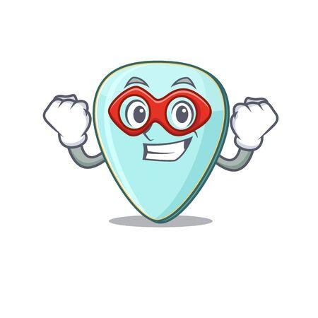 Smiley mascot of guitar plectrum dressed as a Super hero Фото со стока - 138023619