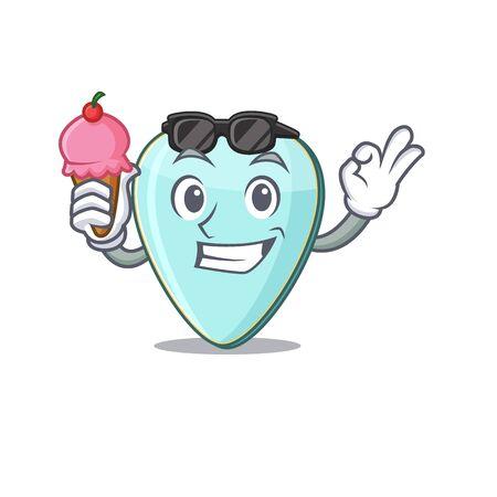 Guitar plectrum mascot cartoon design with ice cream