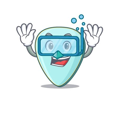 cartoon character of guitar plectrum wearing Diving glasses Фото со стока - 138023621