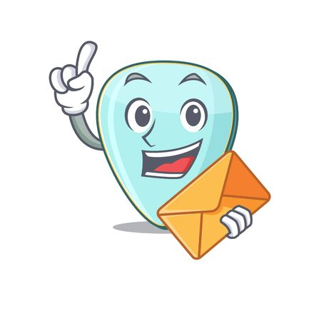 Cheerfully guitar plectrum mascot design with envelope