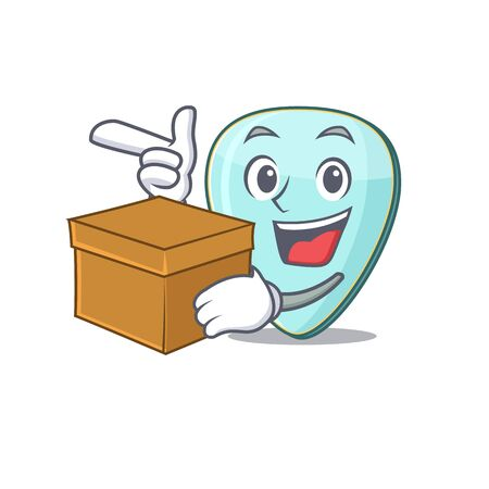 Cute guitar plectrum cartoon character having a box Фото со стока - 138023628