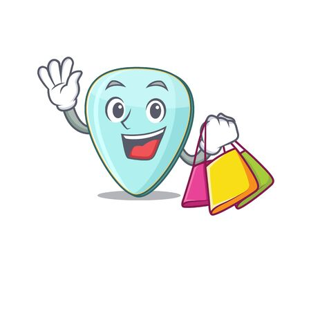 A happy rich guitar plectrum waving and holding Shopping bag Иллюстрация