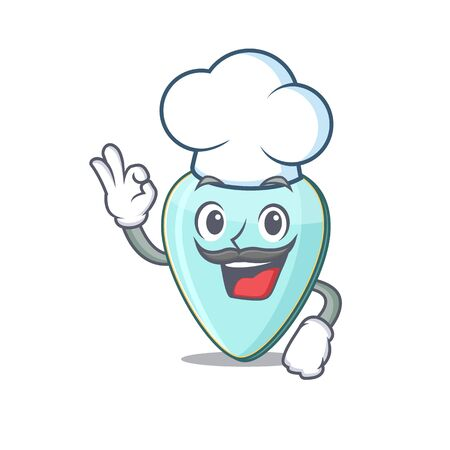Guitar plectrum cartoon character wearing costume of chef and white hat