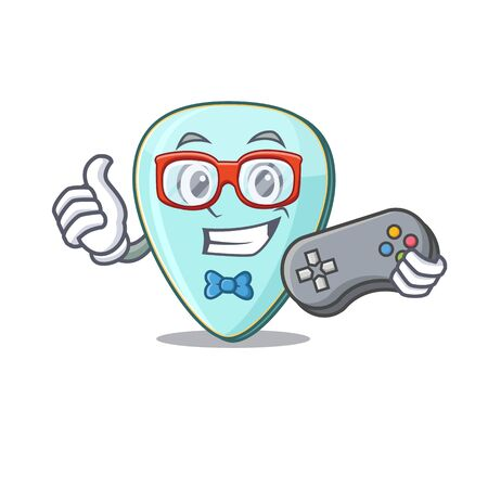 Smiley gamer guitar plectrum cartoon mascot style Фото со стока - 138013602