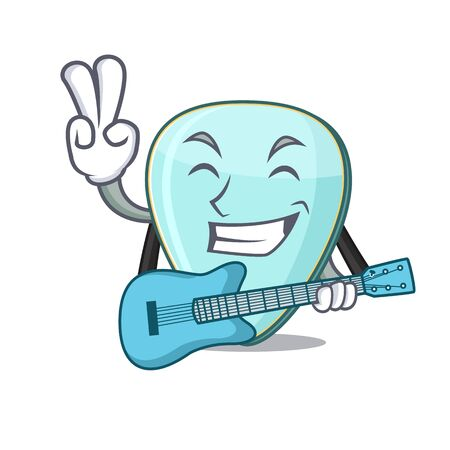 A mascot of guitar plectrum performance with guitar