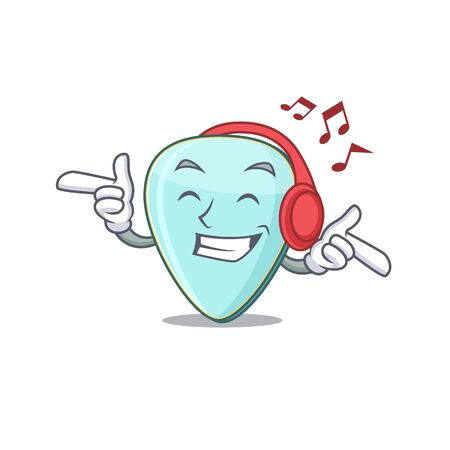 Listening music guitar plectrum mascot cartoon character design