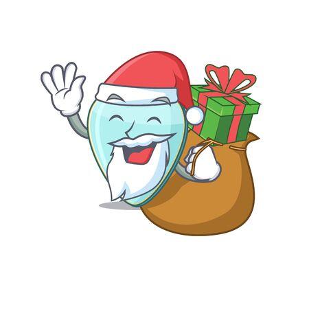 Santa guitar plectrum Cartoon character design having box of gift