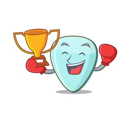 fantastic Boxing winner of guitar plectrum in mascot cartoon style Фото со стока - 138012954