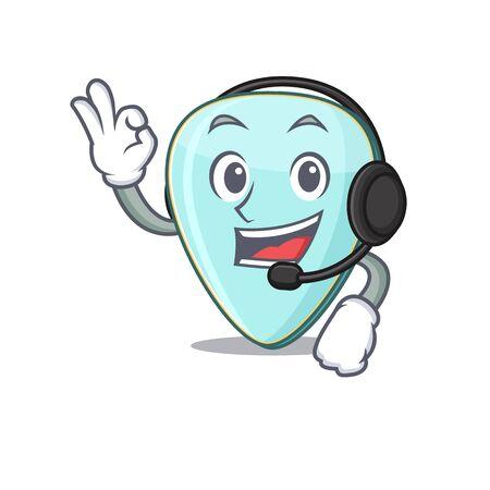Smiley guitar plectrum cartoon character design wearing headphone Фото со стока - 138023738
