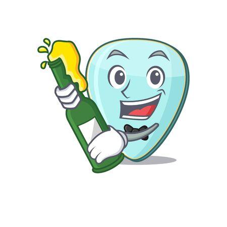 mascot cartoon design of guitar plectrum with bottle of beer Иллюстрация