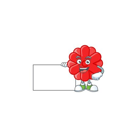 Cheerful chinese red flower cartoon character having a board. Vector illustration