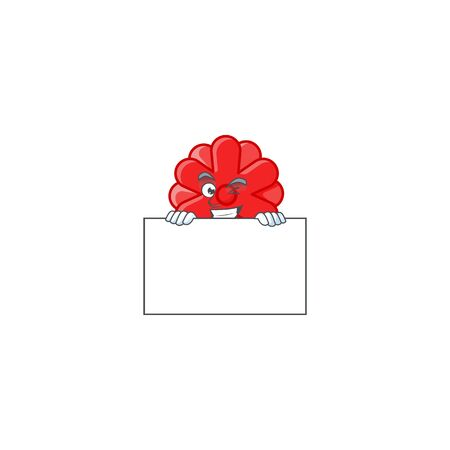 Grinning face chinese red flower cartoon character style hides behind a board. Vector illustration