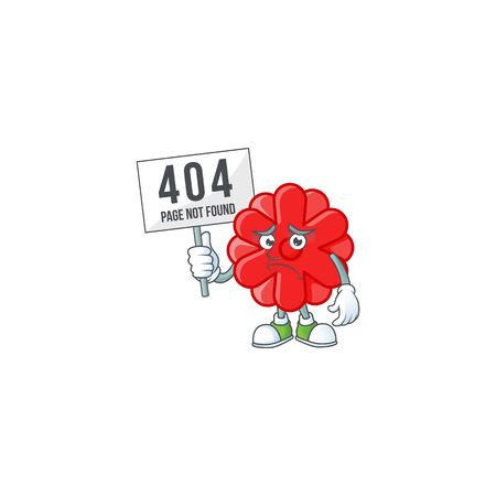 sad face mascot style of chinese red flower raised up a board. Vector illustration