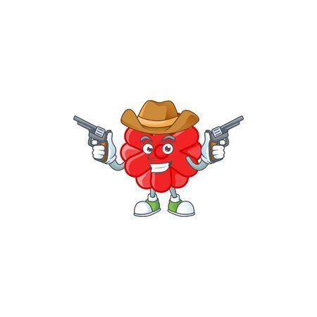 Confident chinese red flower Cowboy cartoon character holding guns. Vector illustration Stock fotó - 138023761