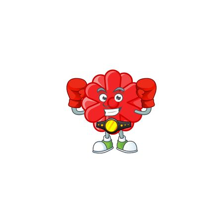 Happy Face Boxing chinese red flower cartoon character design. Vector illustration