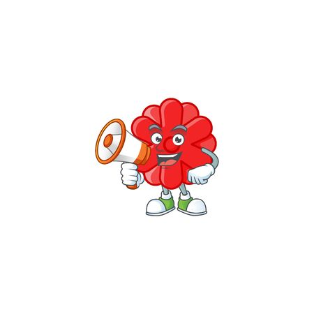 Cool cartoon character of chinese red flower holding a megaphone. Vector illustration Ilustração