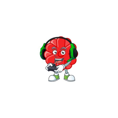 Cool chinese red flower cartoon mascot with headphone and controller. Vector illustration