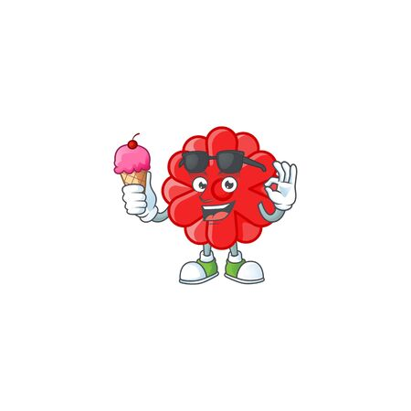 Chinese red flower mascot cartoon design with ice cream. Vector illustration