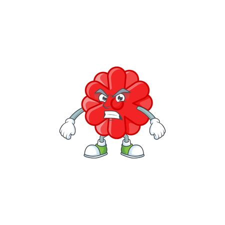 cartoon character of chinese red flower with angry face. Vector illustration