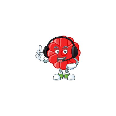 Smiley chinese red flower cartoon character design wearing headphone. Vector illustration Ilustracja