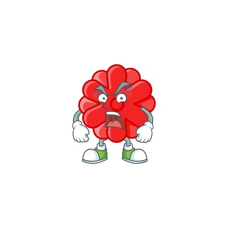 Chinese red flower cartoon character design having angry face. Vector illustration