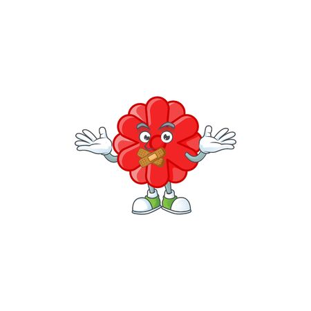 a silent gesture of chinese red flower mascot cartoon character design. Vector illustration