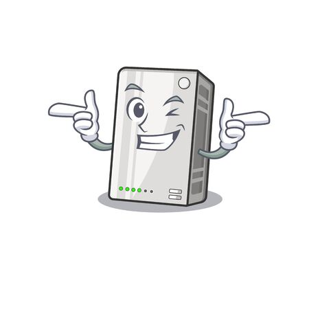 mascot cartoon design of power bank with Wink eye
