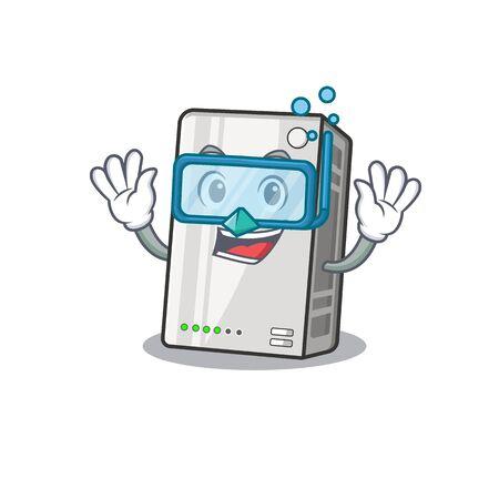 cartoon character of power bank wearing Diving glasses Çizim