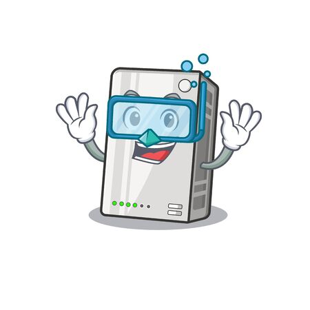cartoon character of power bank wearing Diving glasses Illustration