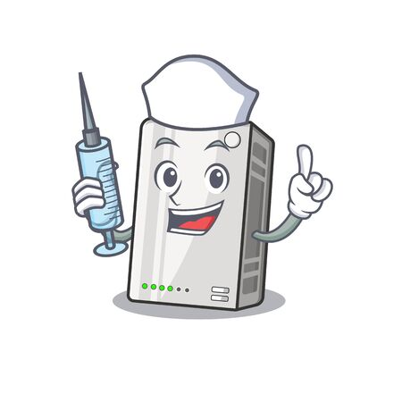 Smiley Nurse power bank cartoon character with a syringe