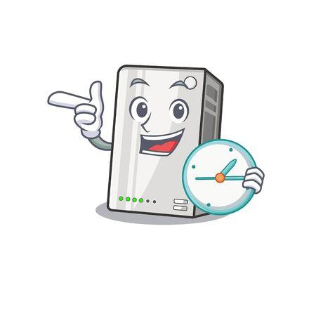 cartoon character style power bank having clock Illustration