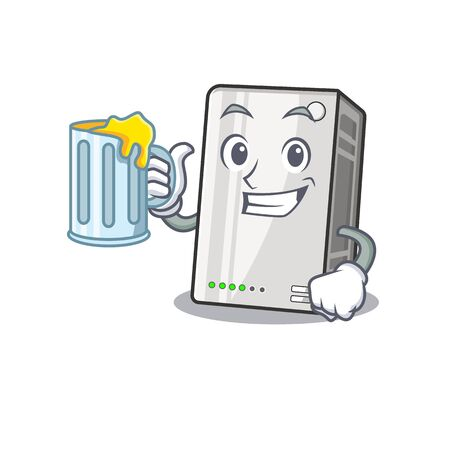 Happy power bank mascot design with a big glass