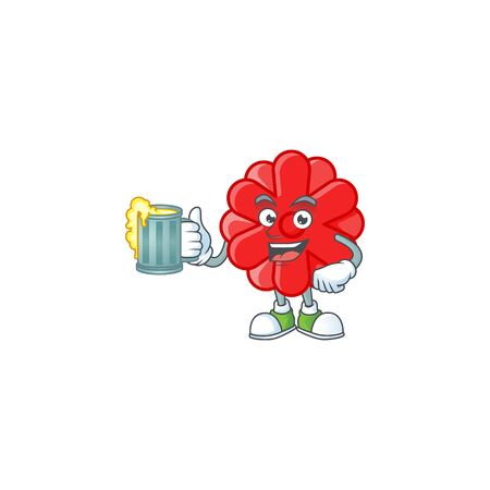 Happy chinese red flower mascot design with a big glass. Vector illustration
