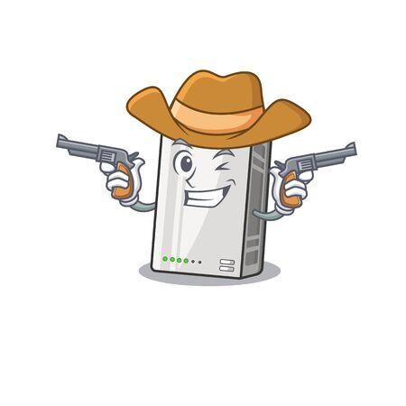 Power bank dressed as a Cowboy having guns Illusztráció