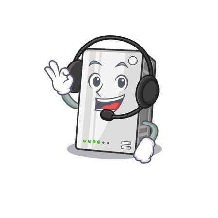 Smiley power bank cartoon character design wearing headphone Zdjęcie Seryjne - 138014037