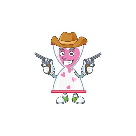 Confident love clock sand Cowboy cartoon character holding guns. Vector illustration Stock fotó - 138024495