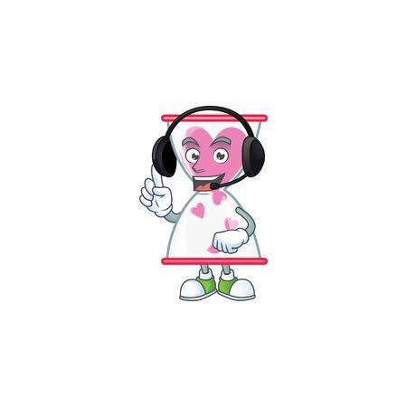 Smiley love clock sand cartoon character design wearing headphone. Vector illustration