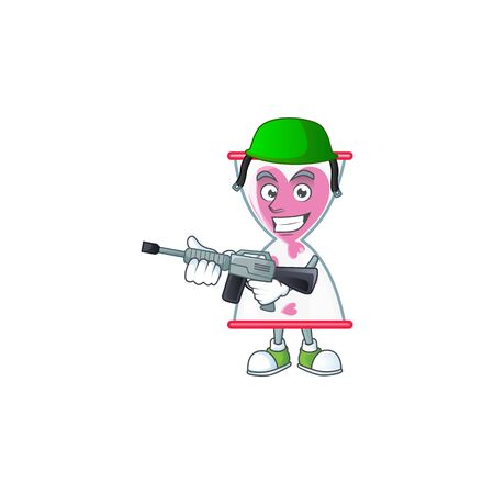 Love clock sand carton character in an Army uniform with machine gun. Vector illustration