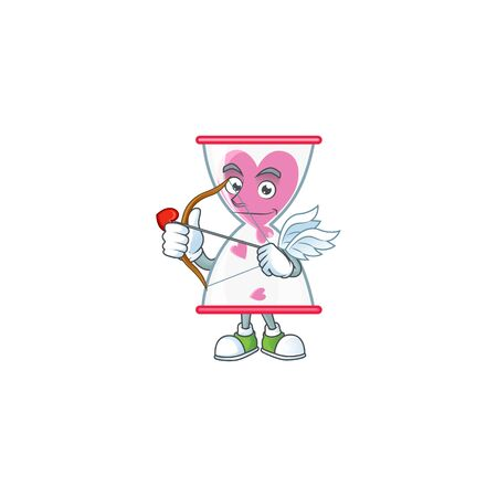 A romantic sweet love clock sand Cupid with arrow and wings. Vector illustration