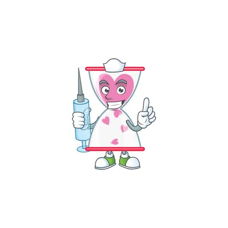 Smiley Nurse love clock sand cartoon character with a syringe. Vector illustration