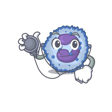 Smart and cool basophil cell cartoon character in a Doctor with tools. Vector illustration