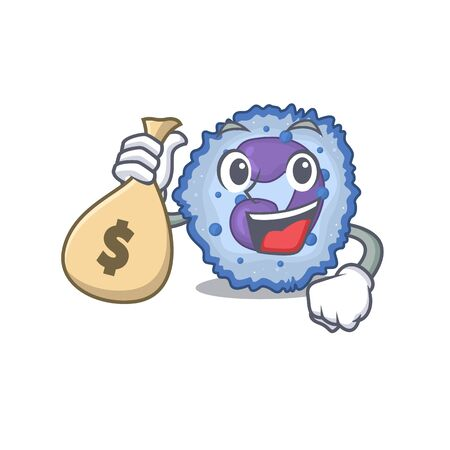 Happy rich basophil cell cartoon character with money bag. Vector illustration