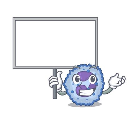 A cute picture of basophil cell cute cartoon character bring a board. Vector illustration