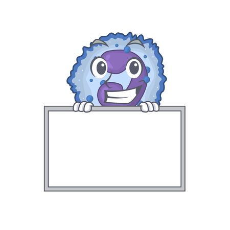 A cute picture of basophil cell grinning with board. Vector illustration Vector Illustration