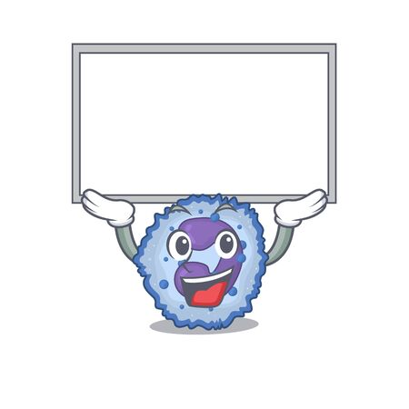 A mascot picture of basophil cell raised up board. Vector illustration Vector Illustration
