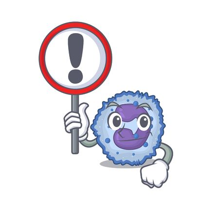 cool and funny basophil cell raised up a Sign. Vector illustration