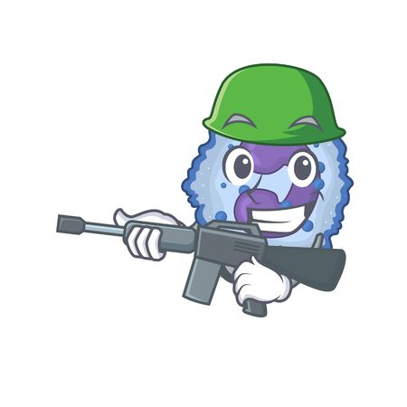 A cartoon design of basophil cell Army with machine gun. Vector illustration