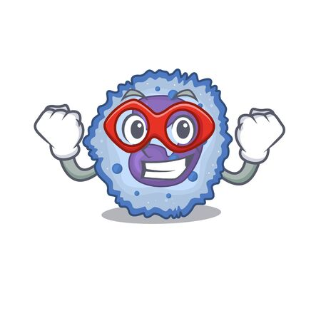 Smiley mascot of basophil cell dressed as a Super hero. Vector illustration