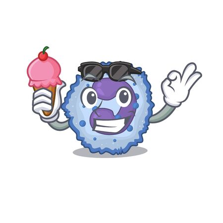 Basophil cell mascot cartoon design with ice cream. Vector illustration